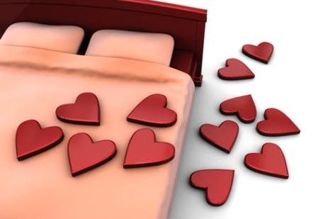 corações na cama